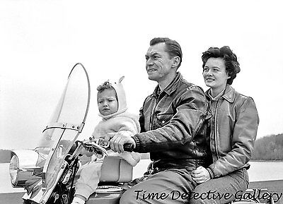 Family on a Motorcycle - 1962 - Vintage Photo Print