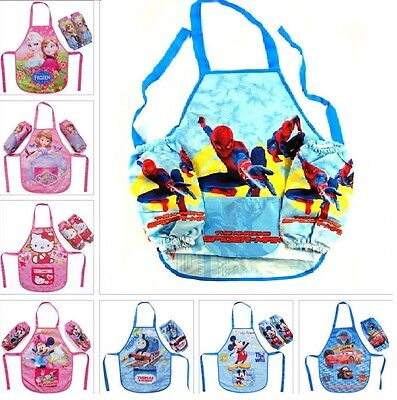 Kids Children Waterproof Cartoon Apron Printed Painting Cooking 2-8 years