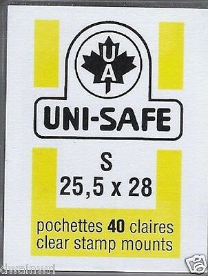 """Prinz Uni-Safe """"S"""" Top Opening #25.5x28  Stamp Mounts (Made in Germany) 40 Clear"""