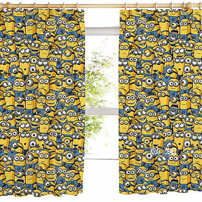 """Sea of Minions Pleated Curtains 54"""" or 72"""" Drop Gift Despicable Me Polycotton"""
