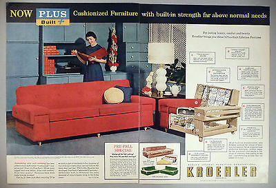 Kroehler Furniture 2 Page Print Ad 1953 Couch Sofa 9 99