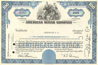 American Sugar Company   1960s New Jersey stock certificate share