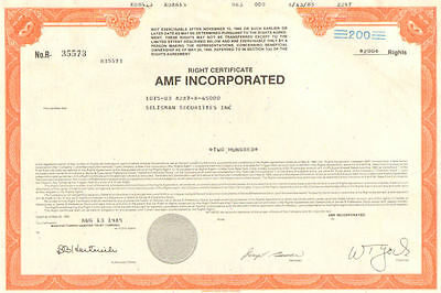AMF   1985 New Jersey American Machine & Foundry Company right certificate share