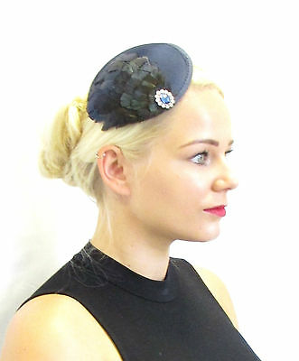 Navy Blue Amherst Pheasant Feather Fascinator Headpiece Vintage 1940s Silver T83