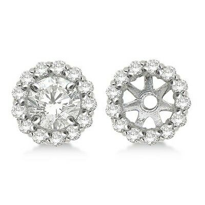 14K White Gold SI2/G White Diamond Halo Solitaire Stud Bridal Earrings Jackets