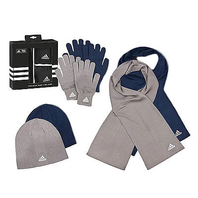 Adidas - Men's Winter Set Knitted Gloves + Hat + Scarf New
