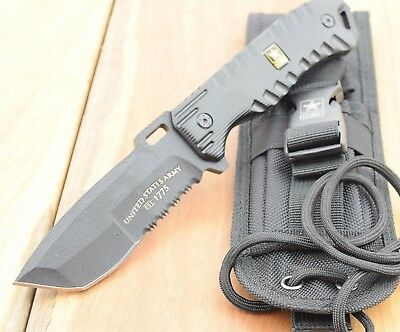 U.S. Army FIXED BLADE KNIFE Tactical  Recon Tanto Survival Knives Blade A-1016BK