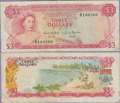 Bahamas 3 Dollars Banknote,1968 Choice Fine Condition Cat#28-A-6266