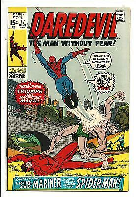 DAREDEVIL # 77 (SPIDER-MAN x-over, JUNE 1971), VF/NM