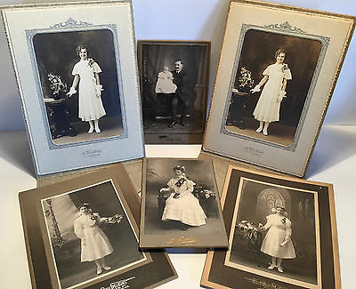 Vintage Formal Black & White Cabinet Style Photographs - Baby Kids Wedding Old