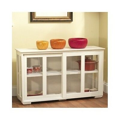 Antique White Stackable Cabinet Kitchen Dining Storage Hutch China Pantry Island