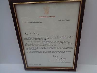 Letter from Buckingham Palace - signed by Lieutenant Colonel Brian Anderson 1986