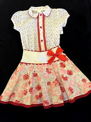 NEW GIRLS OFFICIAL SPANISH 2 PCS SET BOW SKIRT BLOUSE RED/PINK/BEIGE POLKA 5y