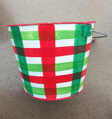"""Santa's Workbench Christmas Red Green White Plaid Painted Metal Bucket Pail 8"""" D"""