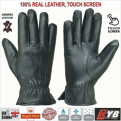 Mens Touch Screen Winter Thermal Warm Genuine Real Leather Driving Gloves Black