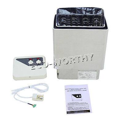 220V 304 Grade Stainless Steel Wet & Dry Sauna Heater Stove Spa Outer Controller