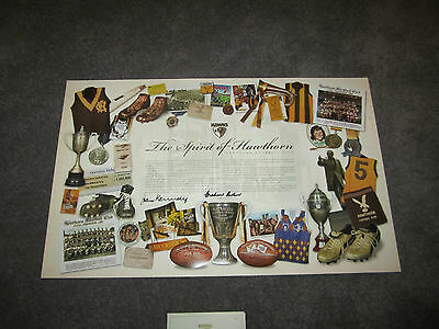 Hawthorn Premiers Official Print Signed John Kennedy Graham Arthur Back To Back