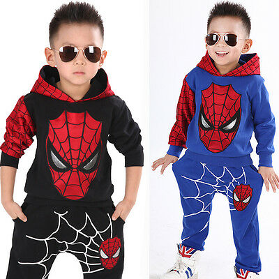 NEW Baby Kids Boys Spider-man Sweatshirt Sport Tracksuits 2pcs Outfit Sets 2-7