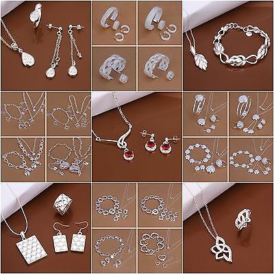 New Jewelry Solid 925 Sterling Silver Lady Earrings Necklace Ring Bracelet Set