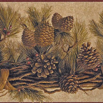 Rustic Pine Cones on Branch - Golden Brown - ONLY $9 - Wallpaper Border A055