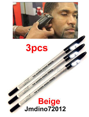 3pcs D.Beige Barber's Magic Pencil, for outlining before trimming and shaving