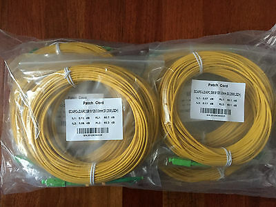 LOT OF 10 x NEW SC/APC-LC/APC SM 9/125 3.0mm SX Fibre Optic Cable - 25m, LSZH