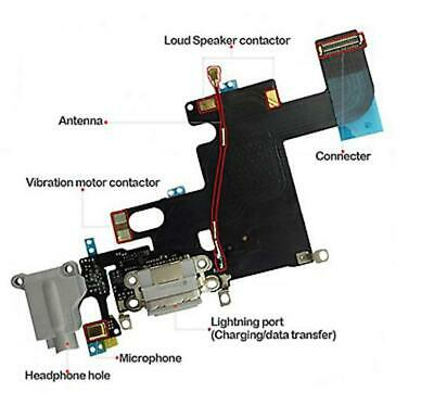 iPhone 6 4.7' Charging Port Flex Cable Microphone Headphone Jack WHITE