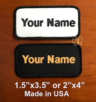 """Custom Embroidered Personal Name Tag Motorcycle Biker Patch  3.5""""x1.5 / 4""""x2"""""""
