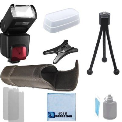 High Capacity TTL Flash D800 D300S 180 Degree Quick Flip rotating Flash Bracket D3S D800E D4 with a Complete Starter Kit D1H D3 Heavy Duty Off-Camera Flash Cord for Nikon D300 4 Rechargeable AA Batteries D2H Home // Car Charger D2X D3X