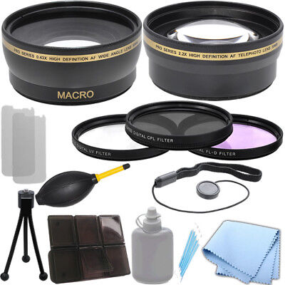 58mm 0.43x Wide Angle 2.2x Telephoto Lens, Filter Kit for Canon T3 6D 7D