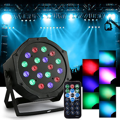 18-LED RGB Stage Lighting Voice Control Projector Lamp Light w/Remote Control