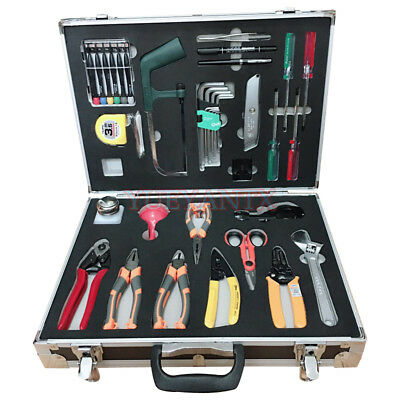 Fiber Optic Cable Fusion Splicing Tool Kit Slitter Stripper Cutter Knife 26 Tool