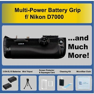 Multi Purpose Battery Grip for Nikon D7000 SLR Camera + 2 EN-EL15 Battery + Kit