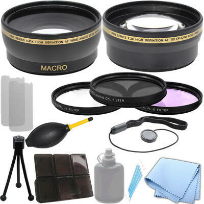 58mm 0.43x Wide Angle 2.2x Telephoto Lens Filter Kit for Canon EOS-M SLI 7D II