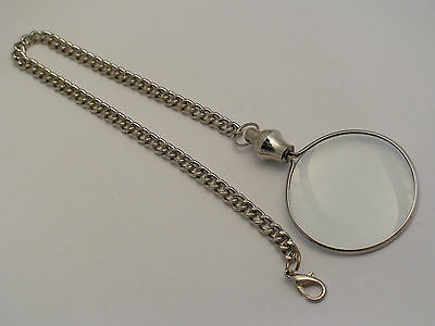 Quality Steampunk Victorian Monocle 5X Magnifying Eye Glass SILVER TONE