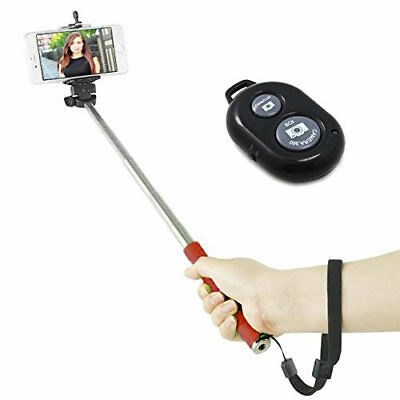 """43"""" Red Selfie Monopod + Bluetooth Remote for Samsung Galaxy Note Edge"""
