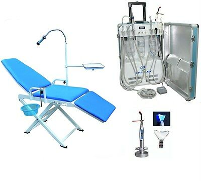 Portable Dental Delivery Unit Air Compressor 2H + Dental Chair + Curing Light US