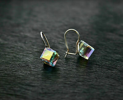 Genuine solid 925 silver earrings with Swarovski Elements Ab CUBE 10mm gift box