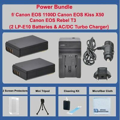 2 LPE10 Battery +Charger for Canon Rebel EOS 1100D 1200D KISS X50 REBEL T3 T5 T6