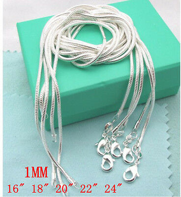 New 1Mm 5Pcs Fine Solid 925 Sterling Silver Jewelry Snake Chains Necklaces Gift