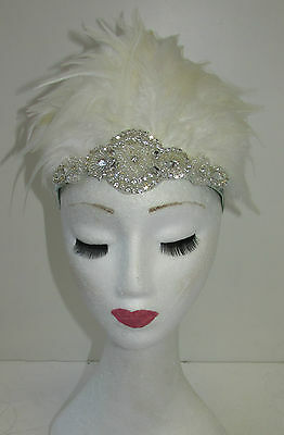 Ivory White Feather Headdress Burlesque Headpiece Vintage 1920s 1940s Silver T88