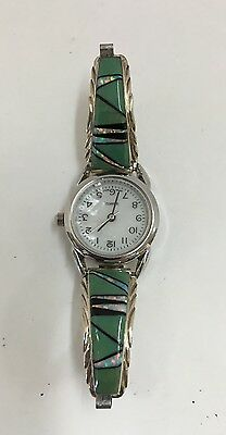 Native American Sterling Silver  Navajo Green Turquoise Ladies Watch