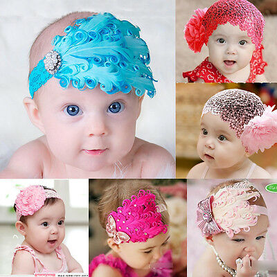 Cute Baby Kid Girl Infant Toddler Feather Elastic Headband Lace Flower Hair Band