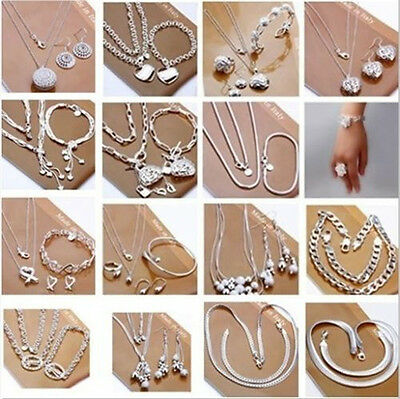 Fashion New Jewelry Solid 925 SterlingSilver Bracelet Necklace Ring Earring set