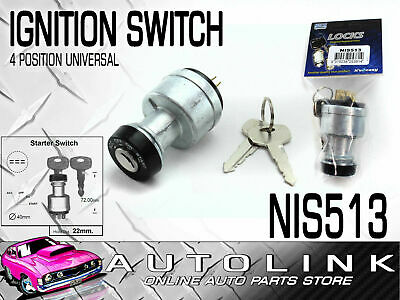 IGNITION STARTER SWITCH UNIVERSAL 4 POSITION MOUNTING HOLE DIA: 22mm NIS513