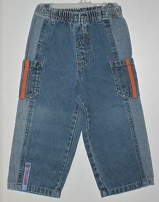"DISNEY Boys Size 18 Months ""Basketball"" Blue Denim Pull-On Jeans"