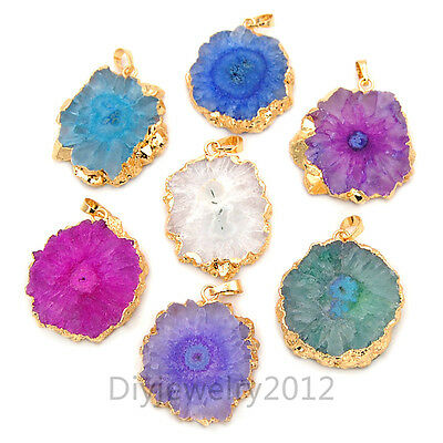 Titanium Coated Druzy Quartz Sun Solar Flower Pendant Connector Gemstone Beads