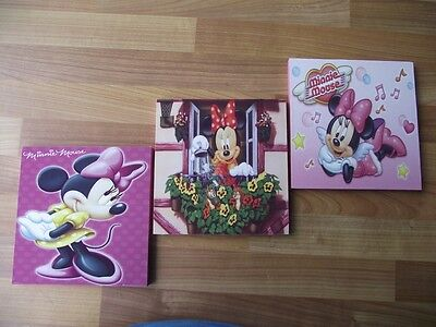 Minnie Mouse Canvas Wall Art Plaques/pictures Set- Free Postage