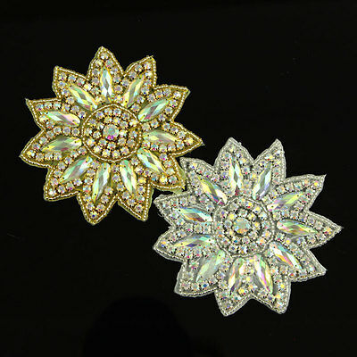 Applique Floral Scrapbooking A Repasser Coudre Strass Cristal AB Mariage