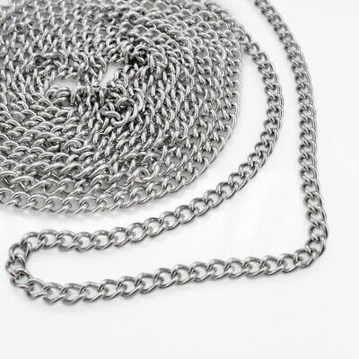 3m x Stainless Steel Curb Chain 6mm x 4.5mm x 1.2mm Open Links